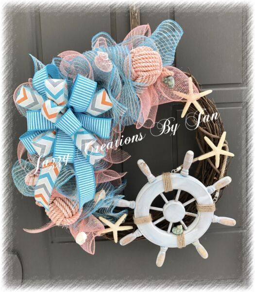 NAUTICAL GRAPEVINE & DECO MESH WREATH WITH WOODEN SHIPS WHEEL