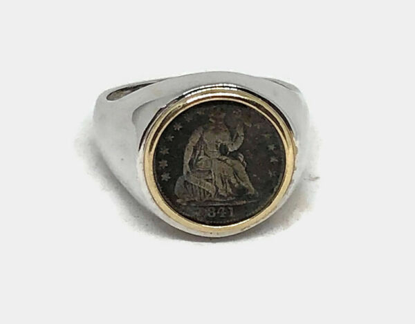 FANTASTIC 14K WHITE GOLD MENS 1841 SEATED HALF DIME COIN RING SIZE 11.25