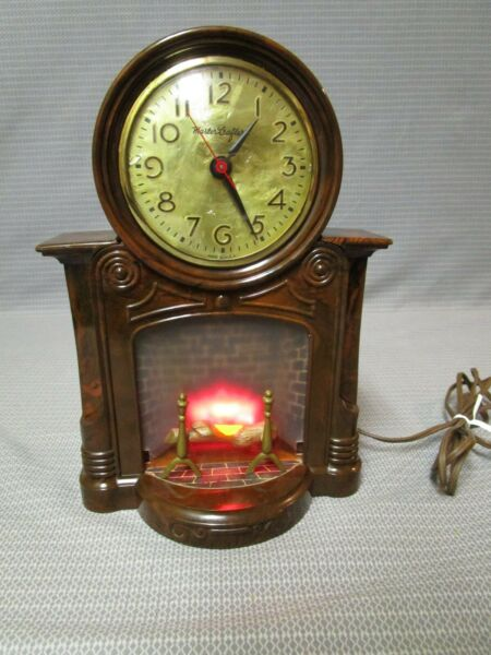 VINTAGE ELECTRIC LIGHTED MANTLE TABLE CLOCK #272 FIREPLACE WORKS MASTERCRAFTERS