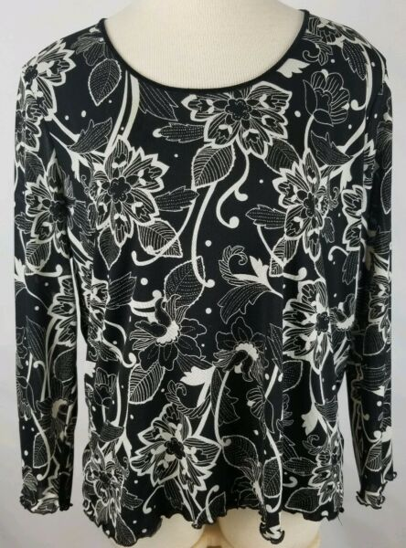 LIZ CLAIBORNE Womens Plus 1x Black White Floral Sheer Lined Long Sleeve Top New  $16.36