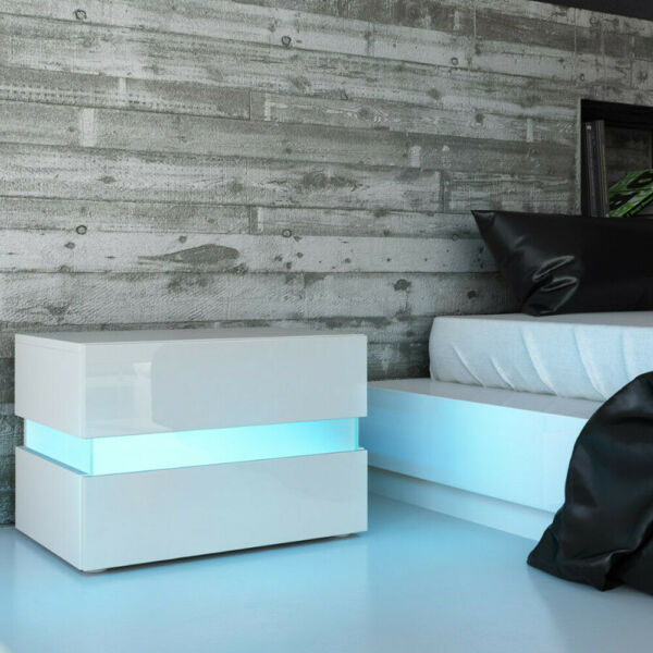 High Gloss LED lights Modern Nightstand Bedside Table With 2 Drawers White