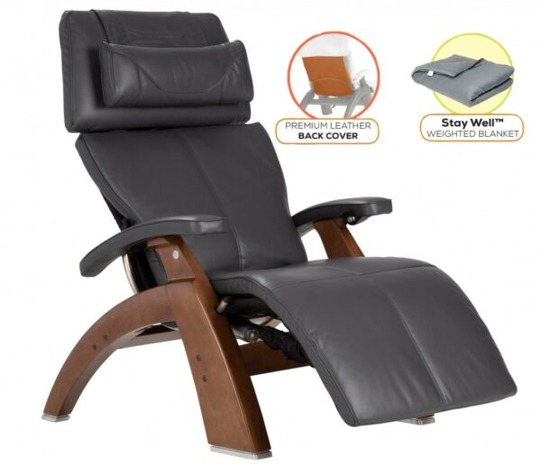 Human Touch PC-610 Perfect Chair Recliner Walnut Wood Base Gray Premium Leather