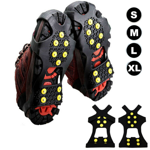 Anti-Slip Cleats Steel Studded Traction Spike Boot Shoes Cover Crampons Snow Ice