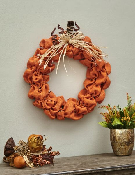 Burlap Pumpkin Wreath - Harvest Season Home Decoration for Autumn