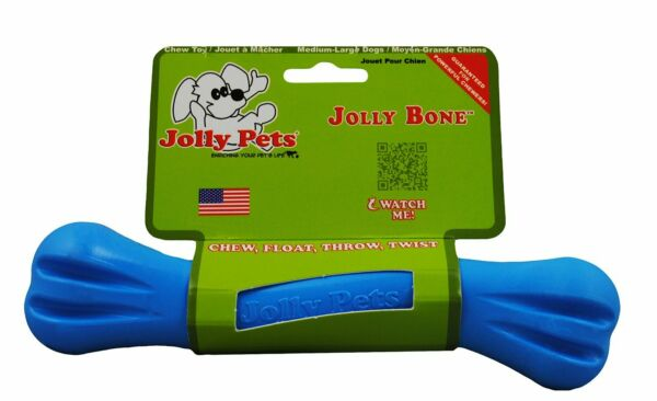 Jolly Pets Jolly Bone Durable Interactive Float Chew Dog Toy Blue USA 8 inch $10.10