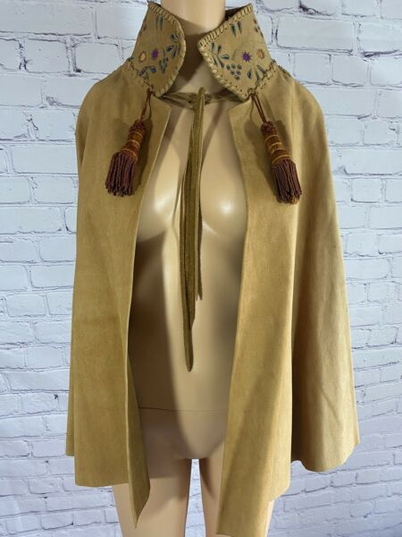Char Leather Hand painted Poncho 1970's