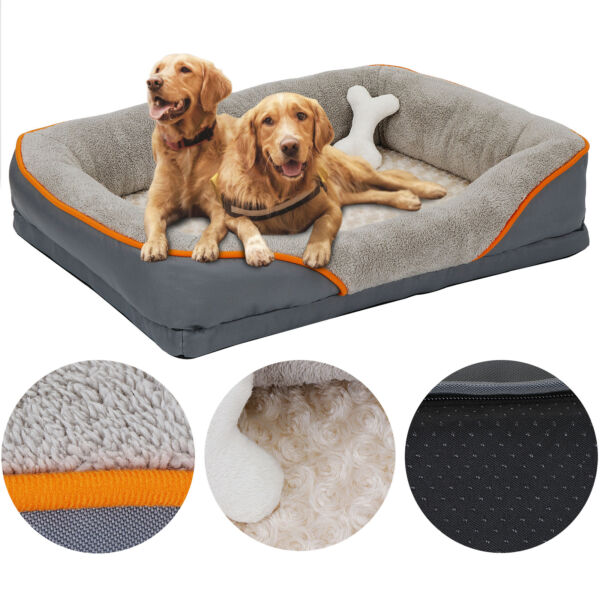 Dog Bed Memory Foam Pet Bed with Removable Washable Cover and Squeaker Toy $44.99