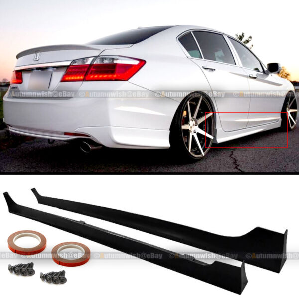 For 13 17 Honda Accord 4Dr JDM MD Style Unpainted Side Skirts Splitter Extension $129.99