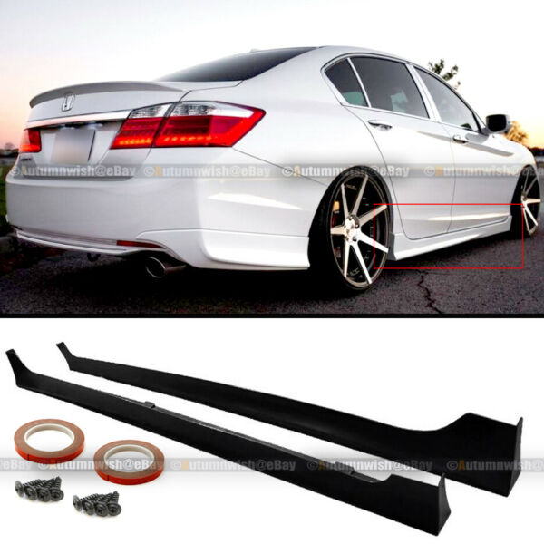 For 13 17 Honda Accord 4Dr JDM MD Style Unpainted Side Skirts Splitter Extension