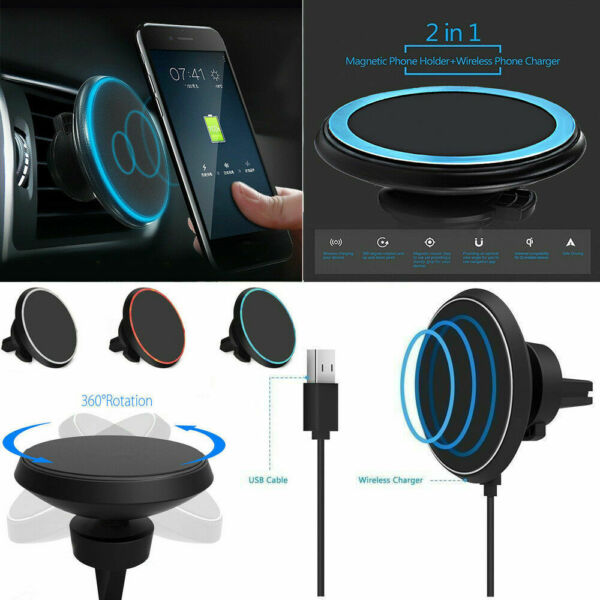 Fast Qi Wireless Car Charger Magnetic Phone Holder For iPhone X XS Max Xr 8 Plus $13.89