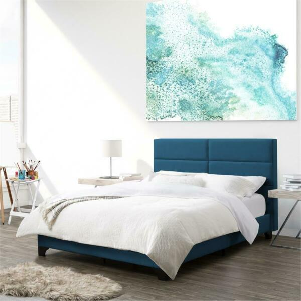 CorLiving Ocean Blue Fabric Double Wide-Rectangle Panel Bed and Frame