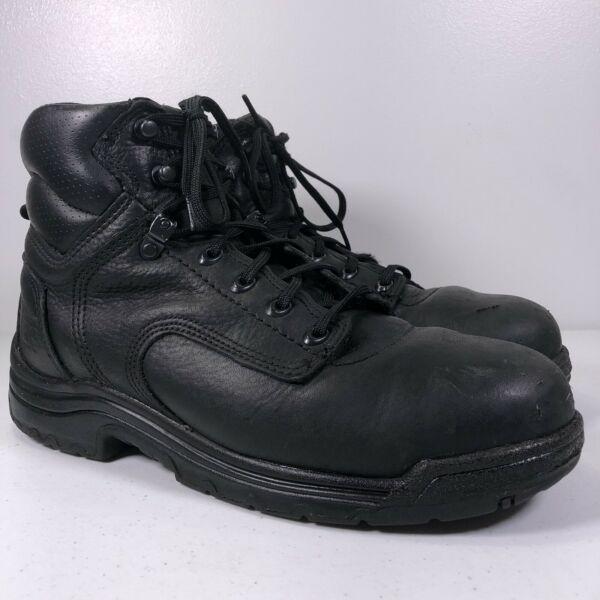 Timberland PRO Titan Alloy Steel Toe Work Boots 26064 Black Leather Mens 9M $54.99
