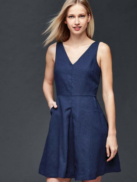 NWT Gap Linen fit amp; flare dress Comet Blue SIZE 16 #201702 N1124 $31.99