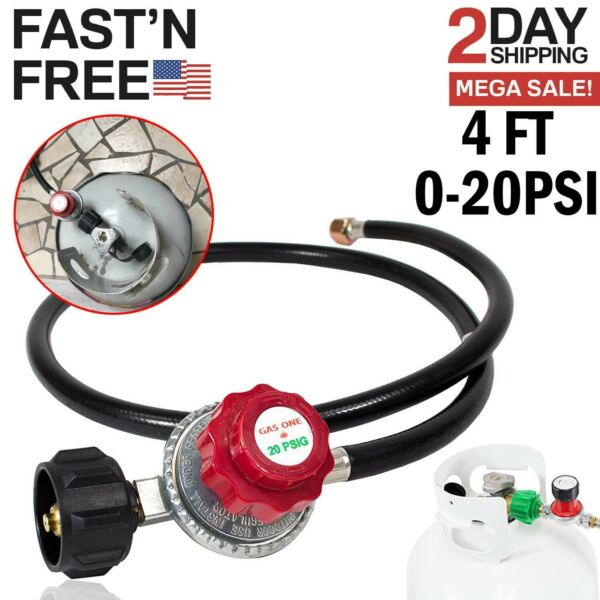Gas One Propane 0-20 PSI Adjustable High Pressure Regulator with 4 Feet QCC Hose