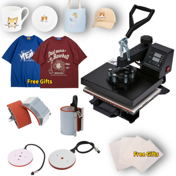 5 in 1 Heat Press Machine Swing Away Digital Sublimation T Shirt Mug Plate Hat $133.99
