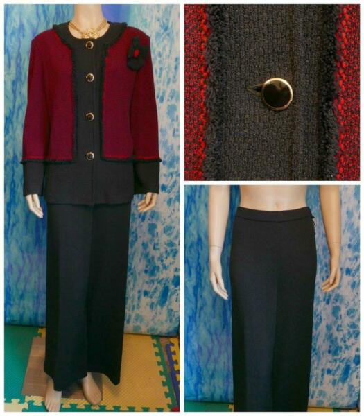 St. John Collection Black Red Jacket Pants XL 16 14 2pc Suit Buttons Flower Pin