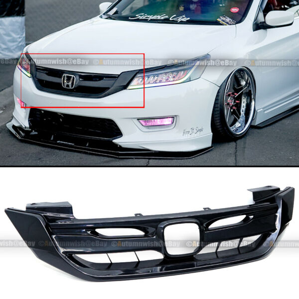 Fit 13-15 Honda Accord 4 Door Gloss Black JDM Mod Style Front Bumper Hood Grille