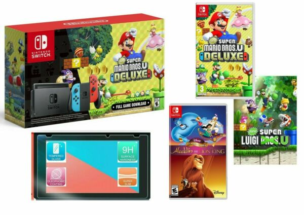 NEW Nintendo Switch Bundle Super Mario Bros. U Deluxe with 4 GAMES + MORE!