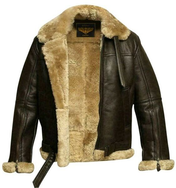 B3 Aviator Bomber WWII Pilot Real Shearling Brown  Leather Flying Winter Jacket