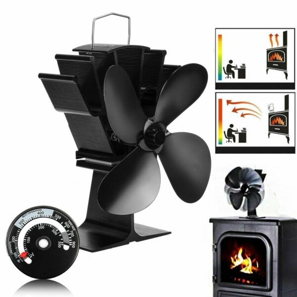 4 Blades Heat Powered Stove Fan With Thermometer Silent Wood Fireplace Fan ~USA