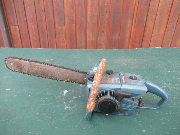 Vintage HOMELITE Chainsaw BLUE Chain Saw with 18quot; Bar $99.99