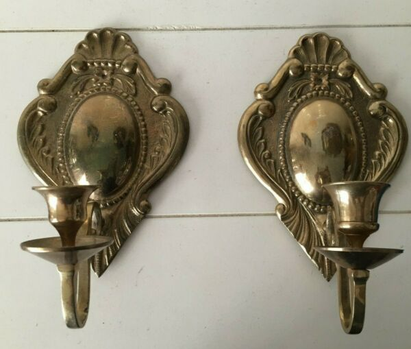 Set of 2 Vintage Solid Brass Wall Sconces Candle Holders Candlesticks