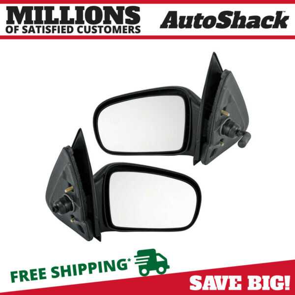 Folding Black Manual Side Mirror Pair for 1995-2005 Chevrolet Cavalier Coupe