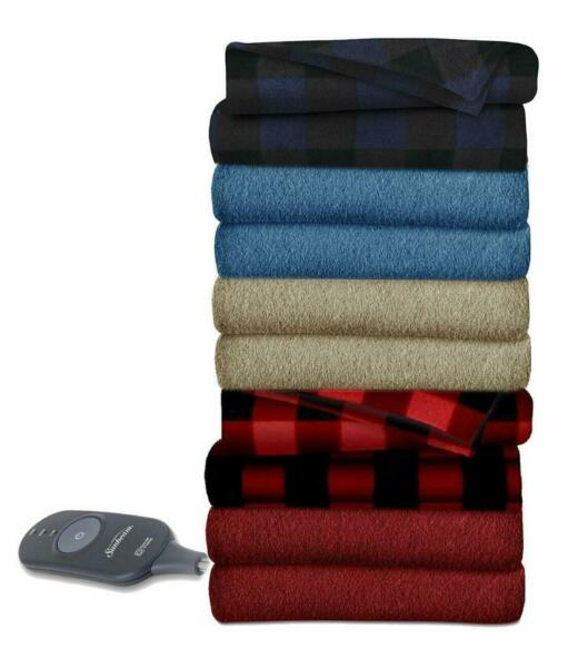 Sunbeam Heated Throw Blanket Fleece 3 Heat Settings Assorted Colors $44.99