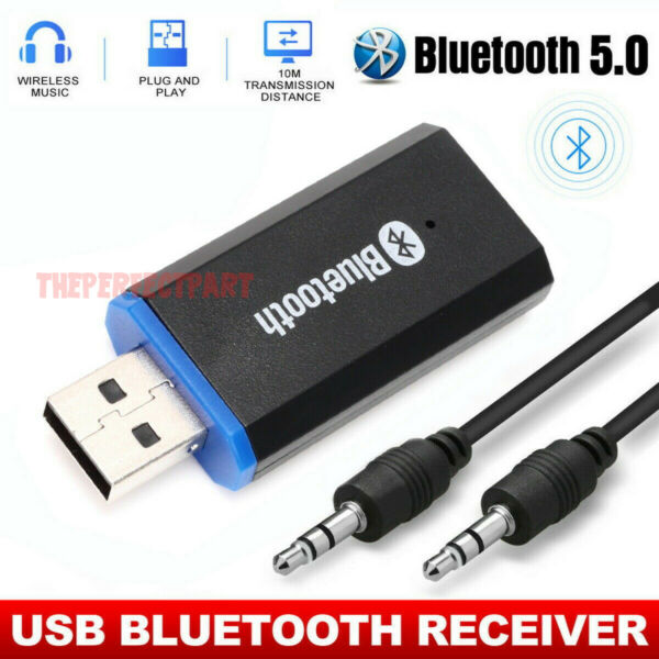 USB Bluetooth 5.0 Receiver Adapter 3.5mm Jack AUX Stereo For Headphone Speaker $6.76