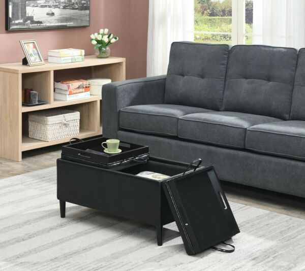 Storage Ottoman Coffee Table BLACK Faux Leather Reversible Tray Top Living Room