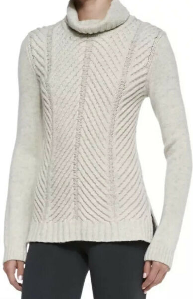 VINCE Cream Ivory Chevron Chunky Cable Knit Yak Wool Turtleneck Sweater SZ XS