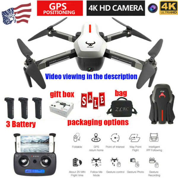 SG906 Drone 4k Brushless Motor GPS Follow Me Wide Angle Camera RC Quacopter E3F0