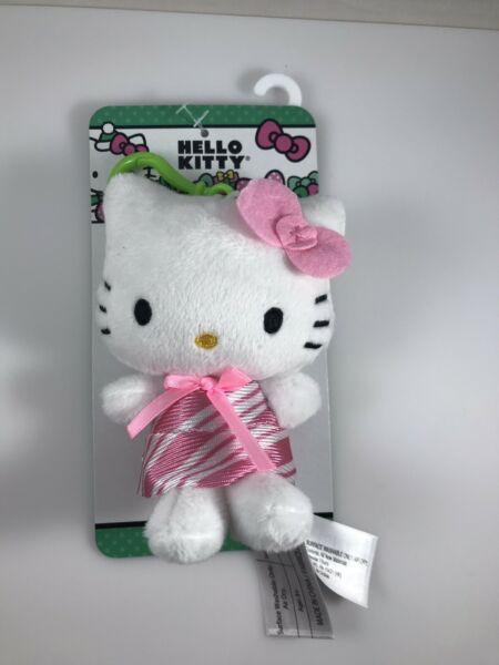 NEW Hello Kitty Sanrio Plush Bag Clip 4.5quot; Holiday Candy Striped Dress