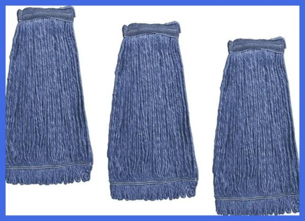 Heavy Duty Commercial Mop Head Replacement Wet Industrial BLUE Cotton Loo 3 Pack