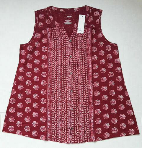 Women's SONOMA Goods for Life™ Button Down Tank Burgandy