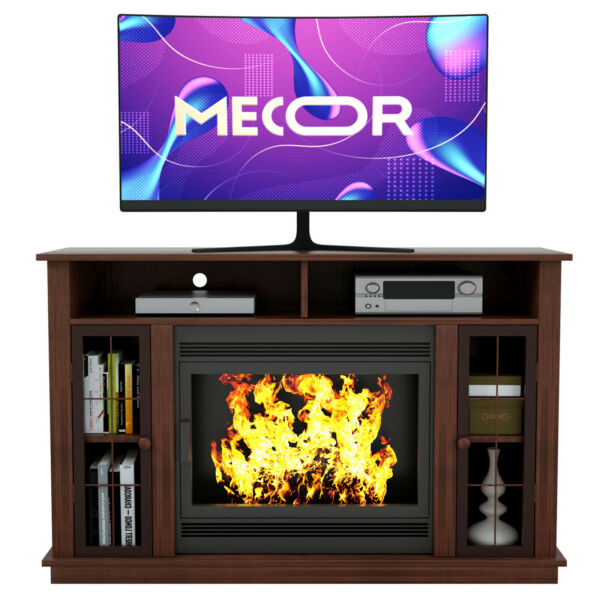 Fireplace Mantel Surround TV Stand Unit Console w Storage for Living Room Brown