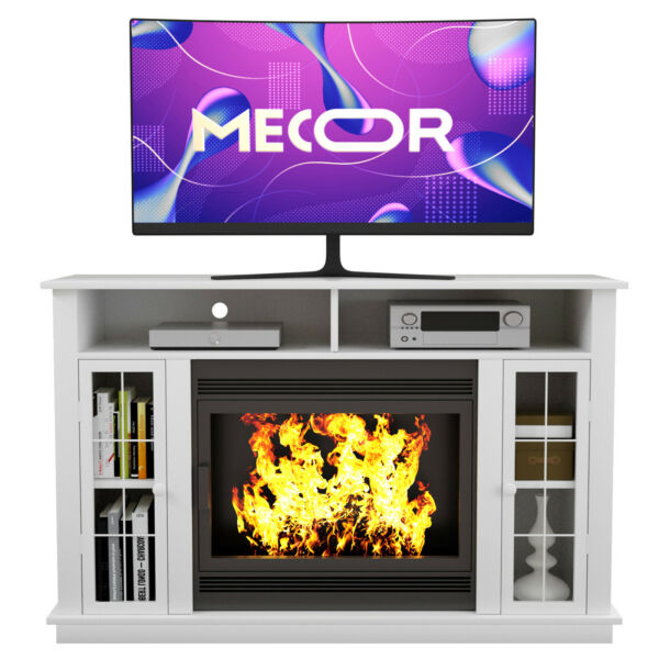 Fireplace Mantel Surround TV Stand Unit Console w Storage for Living Room White