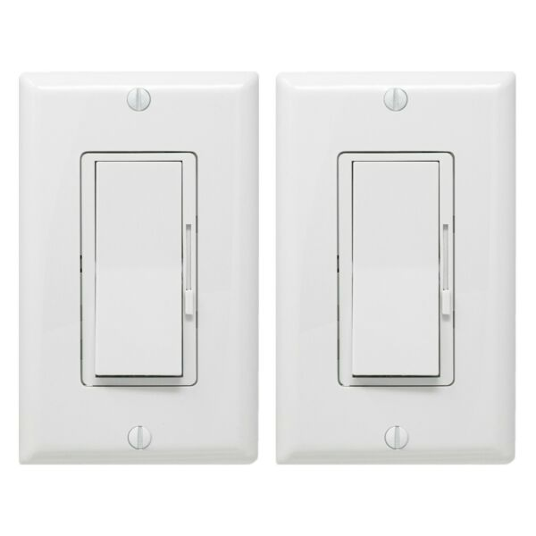 2 Pack Dimmer Light Switch Single Pole or 3 Way for LED Incandescent CFL