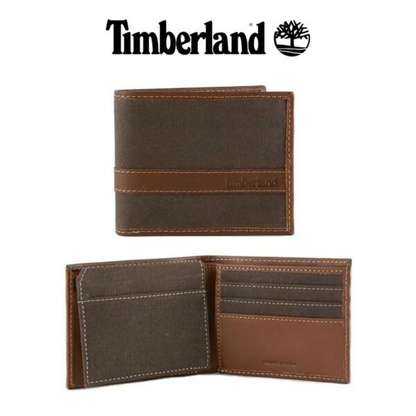 Timberland Leather Wallet Baseline Passcase Wallet Dark Brown One Size $24.43