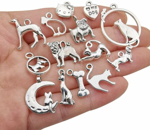 10 Dog Charms Cat Pendants Assorted Charms Lot Paw Print Antiqued Silver Mix $3.61