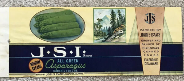 CRATE LABEL CAN VINTAGE DELAWARE MOUNTAIN SCENE 1930S ASPARAGUS ISSACS