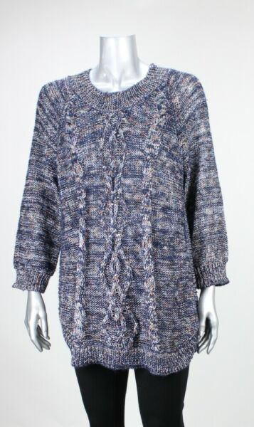 John Paul Richards New Navy Marled Cable Knot Sweater L $59