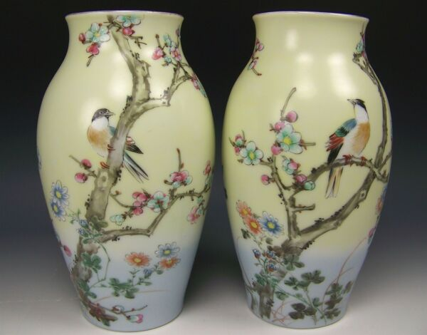 PAIR OF JAPANESE KUTANI PORCELAIN HAND PAINTED BIRDS APPLE BLOSSOMS VASES