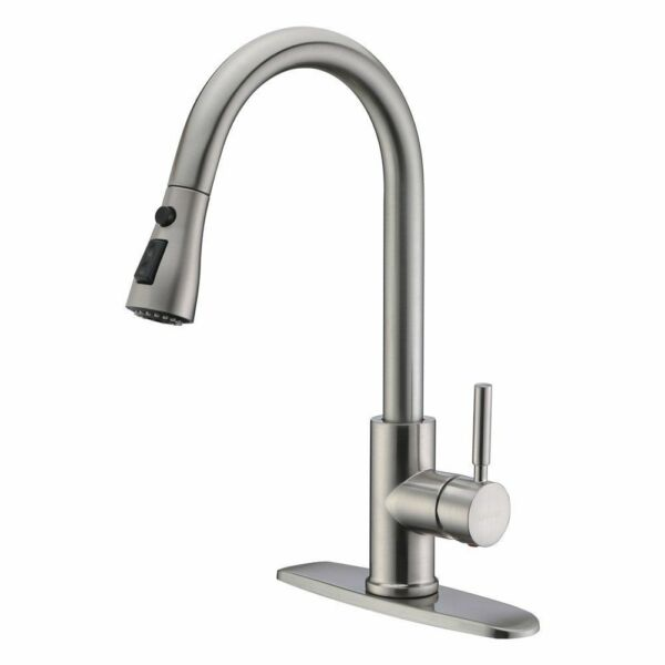 WEWE Commercial Single Handle Brushed Nickel Kitchen Sink Faucet Pull Down Spray