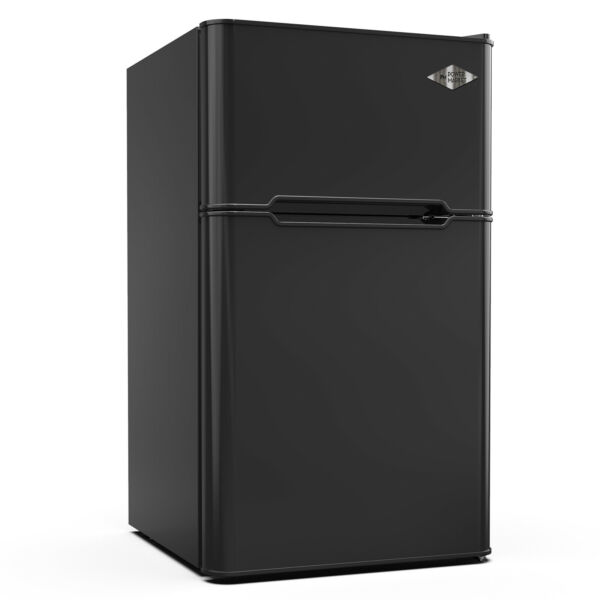 3.2 Cu Ft Mini Fridge Compact Refrigerator 2 Door Top Freezer w/ Fruit Box Black