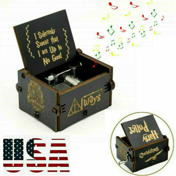 quot;Harry Potterquot; Wooden Music Box HandCranked Black Classic Handmade Gifts Kid Toy