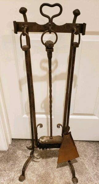 Antique 1800#x27;s Victorian Hand Forged Cast Iron Wrought Iron Fireplace Tool Set