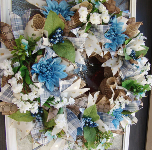 XL Deluxe Romantic Blue Floral Front Door Deco Mesh Wreath French Country Spring