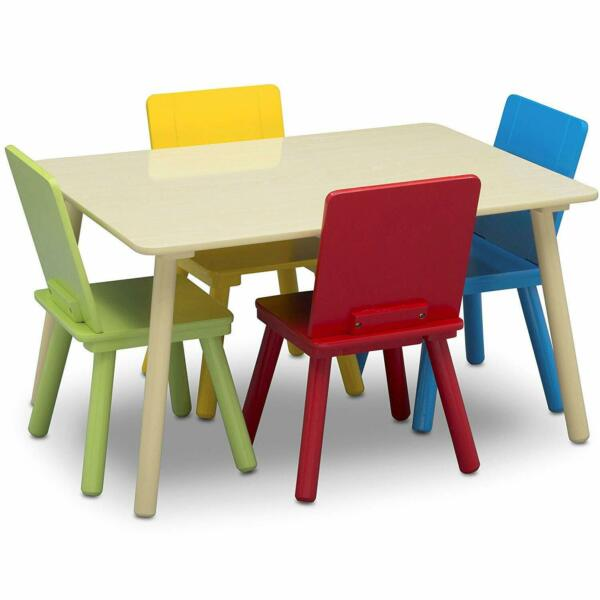Toddler Table and Chair Set 4 Seats Kids Dining Set Play Seating Small Seats Kit $157.97