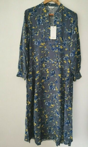 BNWT Toast Grey  Blue Abstract Floral Ruffle Dress Size UK 12 * NEW * £160.00